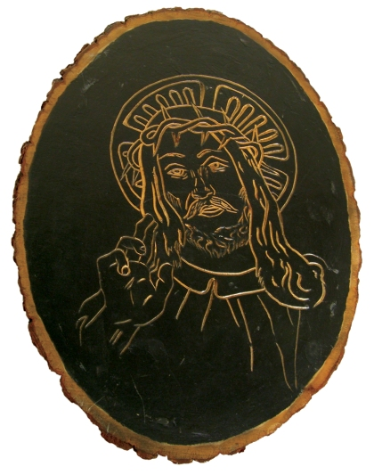 Thrift store Jesus: wood plaque